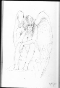 Contemplative Angel, sketchbook page Dec 2014